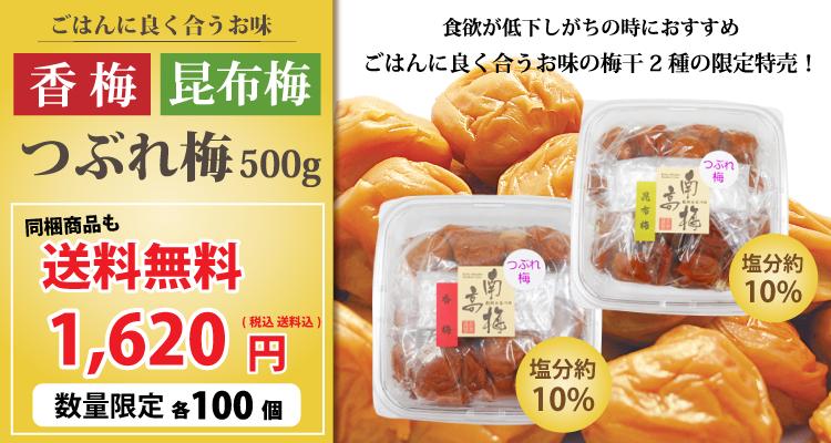 夏の食欲低下時に!ごはんに良く合うお味!1620円送料無料!香梅つぶれ梅